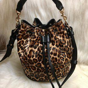 NEW ANN TAYLOR Hair Calf Leopard D/S Bucket XBody